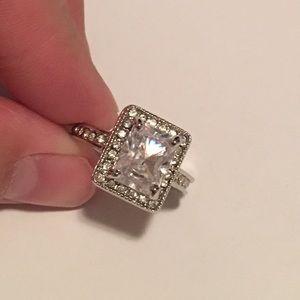 Square Cut Cz Halo Silver Ring